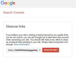 Google Disavow URL Selection Interface
